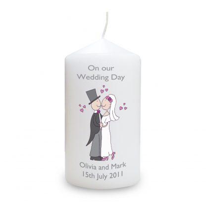 Personalised Cartoon Couple Wedding Day Candle