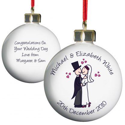 Personalised Cartoon Couple Wedding Bauble