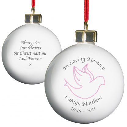 Personalised In Loving Memory Pink Dove Bauble
