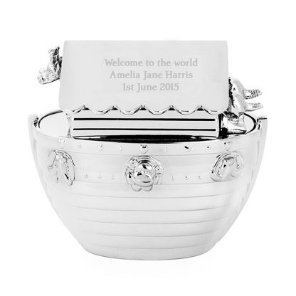 Personalised Silver Plated Noah's Ark Money Box