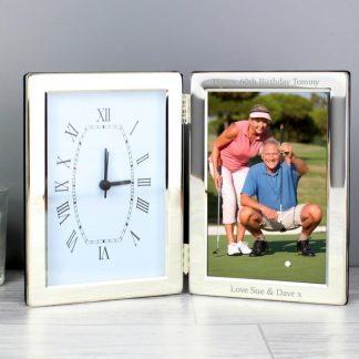 Personalised Folding Silver Clock & 6x4 Photo Frame