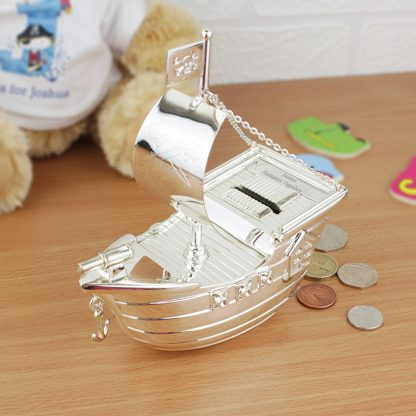 Personalised Silver Plated Pirate Ship Money Box