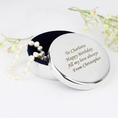 Personalised Round Trinket Box