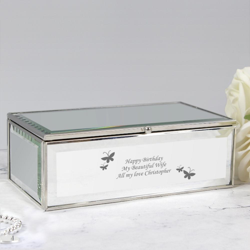 Personalised Butterflies Mirrored Jewellery Box