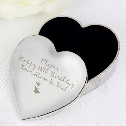 Personalised Butterfly Heart Trinket Box