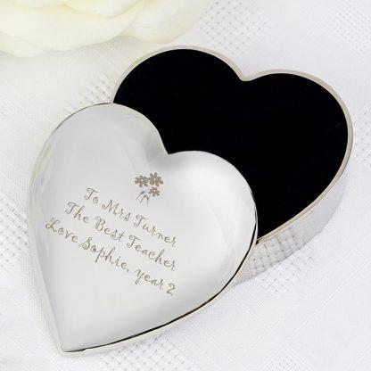 Personalised Teacher Heart Flowers Trinket Box