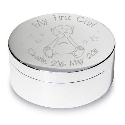 Personalised Teddy My First Curl Trinket Box
