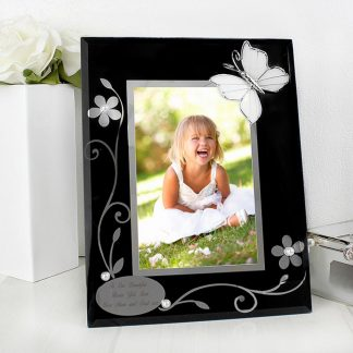 Personalised Butterfly Black Glass 6x4 Photo Frame