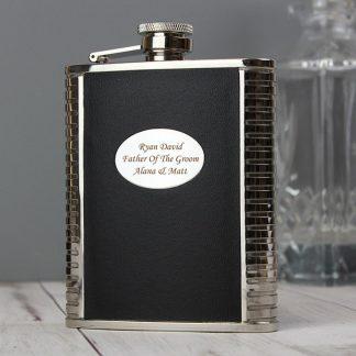 Personalised Steel & Black Leather 6oz Hip Flask