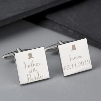 Personalised Decorative Wedding Father of the Bride Cufflinks