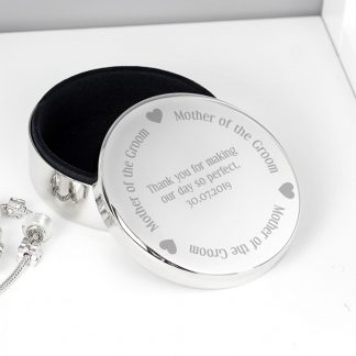 Personalised Mother of the Groom Round Trinket Box
