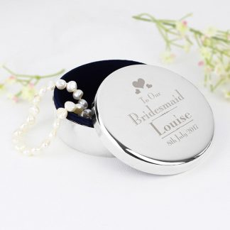 Personalised Decorative Wedding Bridesmaid Round Trinket Box