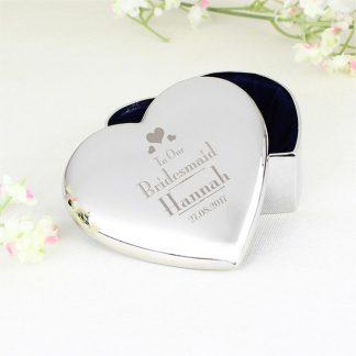 Personalised Decorative Wedding Bridesmaid Heart Trinket Box