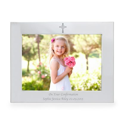 Personalised 7x5 Cross Silver Landscape Photo Frame