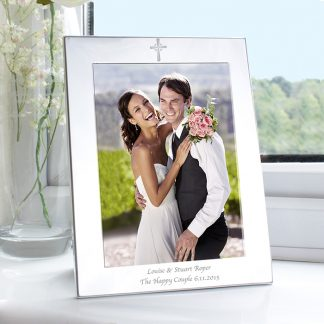 Personalised 7x5 Cross Silver Photo Frame