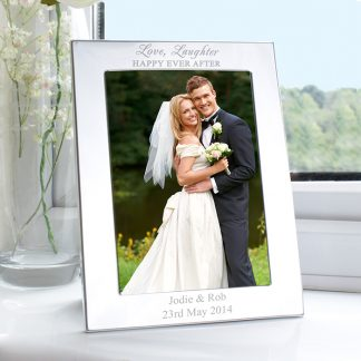 Personalised Silver 7x5 Happily Ever After Photo Frame