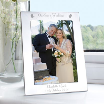 Personalised Silver 7x5 Our Son's Wedding Photo Frame