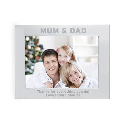 Personalised Silver 7x5 Mum & Dad Photo Frame