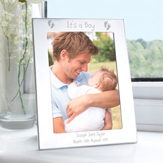Personalised Silver 7x5 Footprints Photo Frame