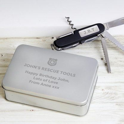 Personalised Shield Multi Tool Pen Knife and Box Set