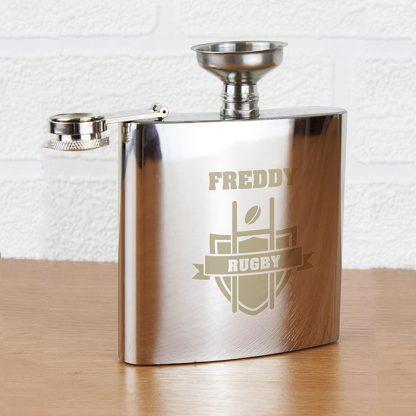 Personalised Rugby 6oz Hip Flask