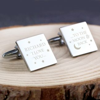 Personalised To the Moon & Back Square Cufflinks