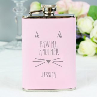 Personalised Paw Me Another Pink 3.5oz Hip Flask