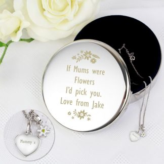 Personalised Silver Heart Pendant with Daisy Charm & Trinket Box