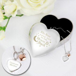 Personalised Moon and Back Heart Pendant & Heart Trinket Box