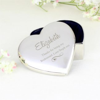 Personalised Swirls & Hearts Heart Trinket Box
