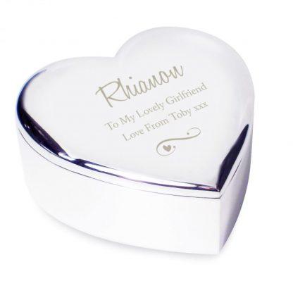 Personalised Swirls & Hearts Heart Trinket Box