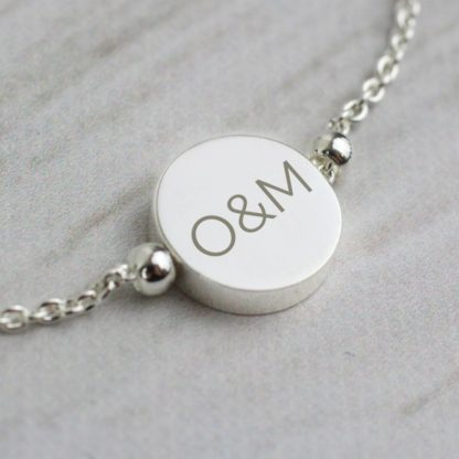 Personalised Silver Plated Initials Disk Bracelet