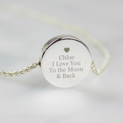 Personalised Heart and Message Silver Tone Disc Necklace