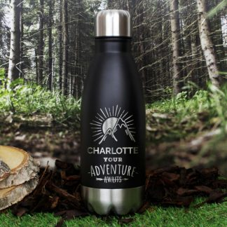 Personalised Adventure Awaits Black Travel Bottle
