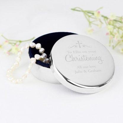Personalised Religious Swirls & Hearts Round Trinket Box