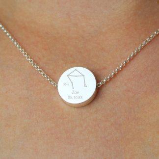 Personalised Libra Zodiac Star Sign Silver Tone Necklace