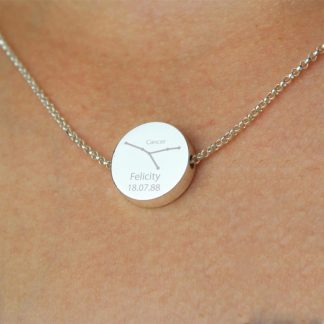 Personalised Cancer Zodiac Star Sign Silver Tone Necklace