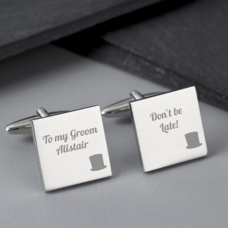 Personalised Top Hat Wedding Square Cufflinks