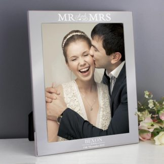 Personalised Silver Mr & Mrs 8x10 Photo Frame