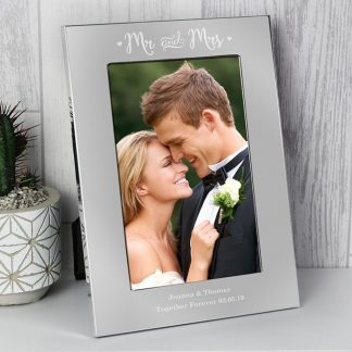 Personalised Mr & Mrs Silver 4x6 Photo Frame
