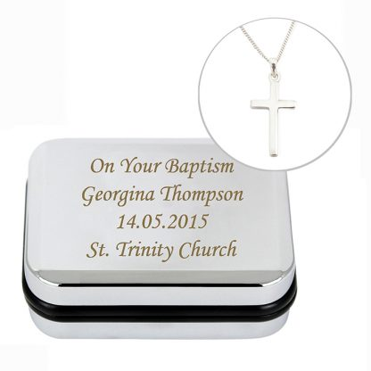 Personalised Silver Cross Necklace Gift Boxed