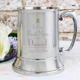 Personalised Decorative Wedding Best Man Stainless Steel Tankard
