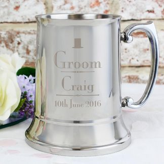 Personalised Decorative Wedding Groom Stainless Steel Tankard