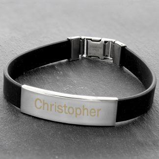 Personalised Rubber & Steel Bracelet