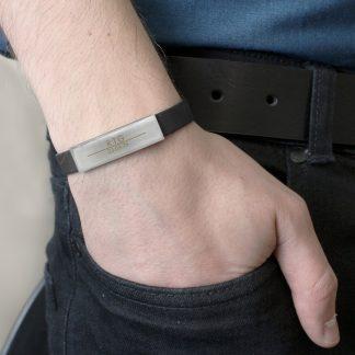 Personalised Classic Male Rubber & Steel Bracelet