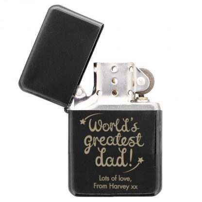 Personalised World's Greatest Dad Black Lighter