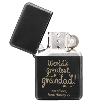 Personalised World's Greatest Grandad Black Lighter