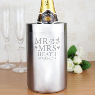 Personalised 'Mr & Mrs' Stainless Steel Wine Cooler