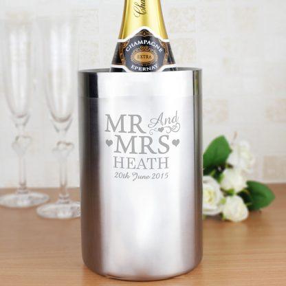 Personalised 'Mr & Mrs' Stainless Steel Wine Cooler