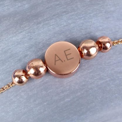 Personalised Rose Gold Plated Initials Disk Bracelet